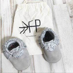 Freshly Picked Baby Fringe Booties Moccasins Grey